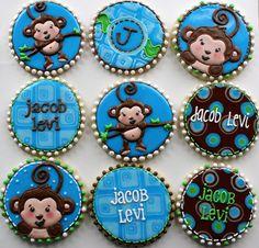 Boy baby shower cookies - monkey theme!  Cute!    http://www.bigdotofhappiness.com/monkeyboytheme.html