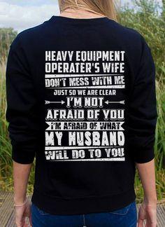 #Myhusband#heavyequipmentoperator'swife Graphic Sweatshirt, T Shirt, Cool Shirts, Sweatshirts, Shopping, Tops, Women, Carpenter, Aircraft