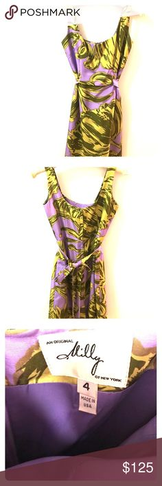 Milly silk floral dress size 4 Gorgeous & classy 100% silk lavender & moss floral dress. Only worn once. Excellent condition. Milly Dresses Midi