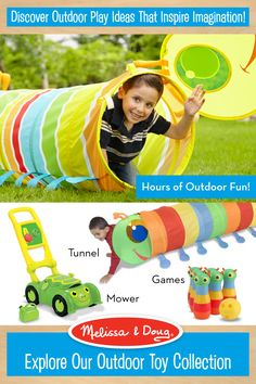 Enjoy up to 25% off sitewide. Use Code:  SPRING2016. Offer expires 3/15/16. Melissa & Doug outdoor toys inspire kids' imagination.  From making outdoor obstacle courses with our tunnels; to pretend play with our mower; to Monster Bowling games – Melissa & Doug toys inspire hours of backyard fun!