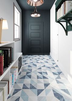 Melange by Gayafores  Wood-effect porcelain tiles with geometric patterns in 3 colourways including Blue as shown and 2 formats inc 16.5x16.5cm as shown. www.gayafores.es