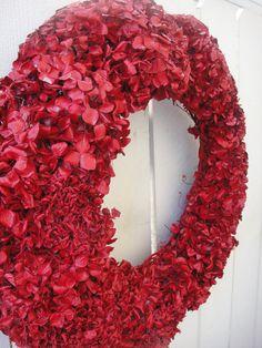 Red Hydrangea Wreath    Dried Hydrangea Wreath   by donnahubbard