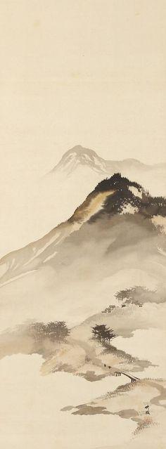 Mountain Landscape with Bridge by Odake Chikuha, 1878-1936 尾竹竹坡 Japan chinese landscape http://www.interactchina.com/painting-art/