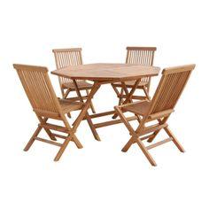 conjunto de teka mesa de cm redonda y sillas plegables