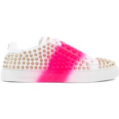 Philipp Plein spike studded sneakers ($1,205) ❤ liked on Polyvore featuring shoes, sneakers, white, white trainers, flat lace-up shoes, white lace up shoes, laced up shoes and leather sneakers