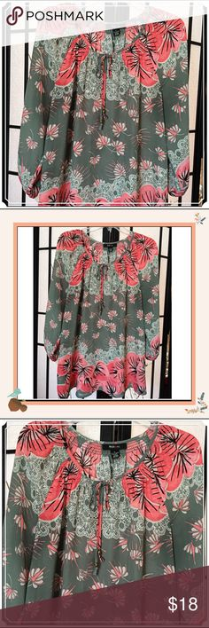 """Style & Co. Gorgeously Colorful Peasant Style Top✨ Soft and Flowing, this Beautiful Flower 🌺 Print Peasant Style Top Will Brighten Up Your Winter!  Ties At Neckline. Looks Great With Jeans & Leggings! Perfect """"Like New"""" Condition! 🌺 Style & Co Tops"""