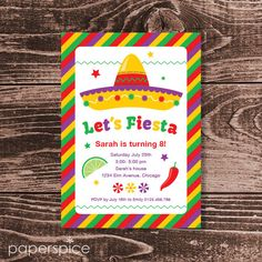 Fiesta Birthday Party Invitation  DIY Printable by paperspice
