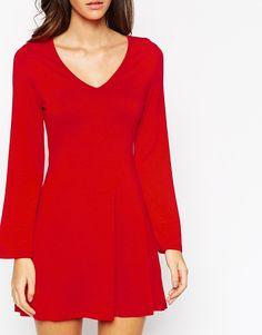 Image 3 ofASOS PETITE  Flare Sleeve Swing Dress