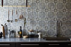Bohemian decor is a perfect way to infuse your space with personality and eclecticism. If you're designing a boho kitchen, consider one of these showstopping tiles for your backsplash. Bathroom Floor Tiles, Kitchen Tiles, Kitchen Decor, Space Kitchen, Morrocan Tiles Kitchen, Kitchen Small, Kitchen Shelves, Countertop Concrete, Kitchen Countertops