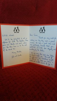 ..always nice to get such lovely feedback! Will start pinning these thank you cards here for all to see! Thanks Kit and Camilla, we enjoyed it too!.. .