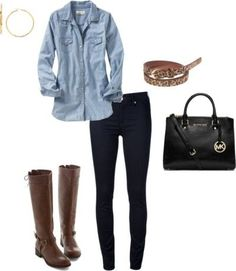 Easy Winter Outfit | Chambray, Skinny Jeans and Riding Boots (via Bloglovin.com )