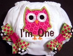 Customizable? First Birthday Owl Bloomers Owl I'm One Pink and by whimsytots, $22.50