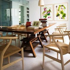 love this dining table & chairs Dining Table Lighting, Dining Table Chairs, Wishbone Chair, Furniture, Home Decor, Beautiful, Templates, Dining Table, Yurts