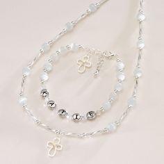 Personalised Girls Communion Name Bracelet & Necklace Set - Keepsake First Holy Communion Gifts - Personalized Jewellery Gift Sets