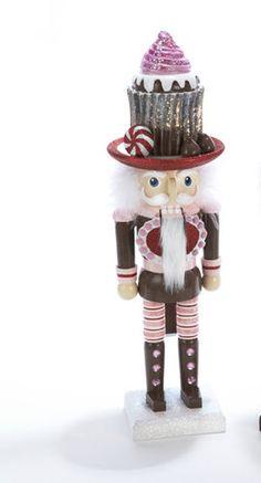 """NEW KURT ADLER 15"""" CHRISTMAS NUTCRACKER HOLLY ADLER CUPCAKE, PEPPERMINT,KISS"""