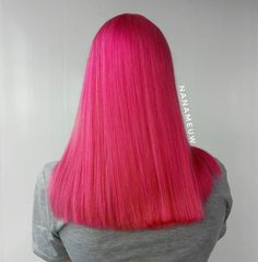 Loving this vibrant hot pink style by - use our Lychee Pink for a similar look! Hot Pink Hair, Pink Hair Dye, Dyed Hair, Hair Ponytail Styles, Ponytail Hairstyles, Long Hair Styles, Beautiful Hair Color, Pink Fashion, Hair Inspo
