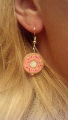 Hand Painted Donut Earrings by BettyJeanDresses on Etsy