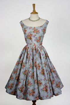 Floral Cotton 1950s Dress by e0m0m0a on Etsy, £40.00