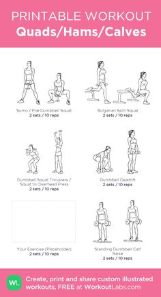 Quads/Hams/Calves –leg workout for home (placeholder is dumbbell hamstring curl) • Click through to download as printable PDF! #customworkout