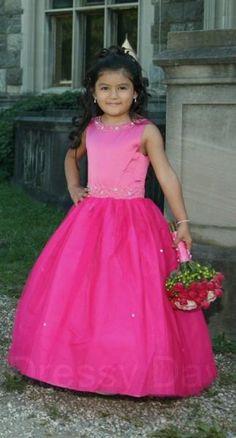 Raspberry Flower Girl Dress with Tulle Skirt