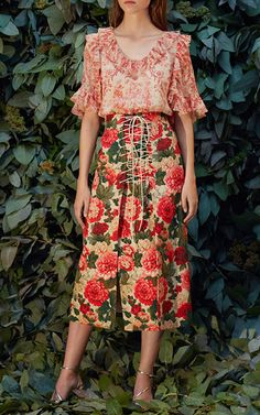 Anfisa Floral A Line Lace Up Skirt by VILSHENKO Now Available on Moda Operandi