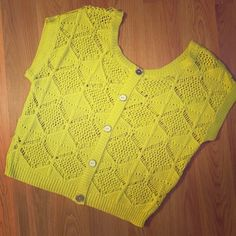 Neon Crochet Top. Like new, glittery neon green/yellow crotchet top. Decorative buttons down the back of the top. Tops