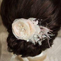 Wedding Blush Hair piece hairpiece Blush hair flower by LeFlowers