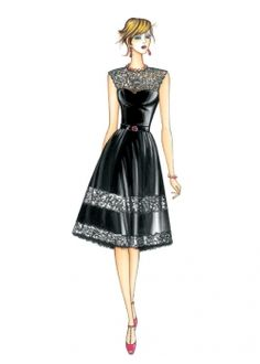 The Marfy hand made pre-cut sewing pattern :: Marfy Collection :: Sewing Pattern 3695 - Fashion Drawing Dresses, Fashion Illustration Dresses, Fashion Sketches, Fashion Dresses, Arte Fashion, Gothic Fashion, Fashion Beauty, Fashion Design, Marfy Patterns