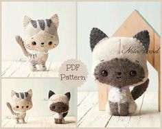 This PDF hand sewing pattern will give you instructions and patterns to make the kittens pictured. Size: 5 approximately. Language: English THIS IS NOT A FINISHED DOLLS. THIS PDF e-Pattern includes: . Step by step photo tutorial. . A material and supply list. . Full size pattern pieces just Print and Sew! (No need to enlarge or resize!) Skill Level: intermediate Items made using this pattern may be sold in your own shop. Mass production, re-sale and distribution of pattern pieces and in...