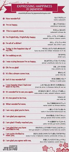 Here are some phrases or sentences to express happiness in Japanese. Let's learn together.