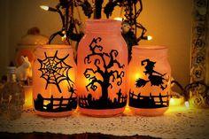 Spooky orange and black jars