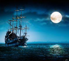Sail ship at night - Android wallpaper @mobile9