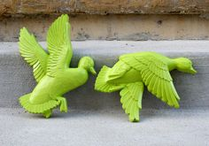 Lime Green Flying Ducks - Set of 2 - Funky Wall Decor. $22.00, via Etsy.