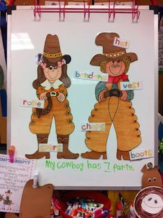 Label the cowboy and cowgirl to build oral language. While doing this they each completed their own brace map.
