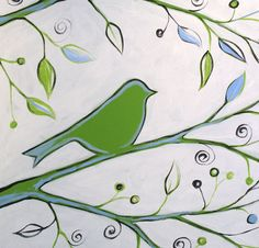 Original Abstract Painting Birds Trees ... green black white ... 18 x 42 ... Ready to Hang, Silhouettes. $210.00, via Etsy.
