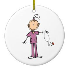 Brunette Stick Figure Nurse Christmas Tree Ornaments