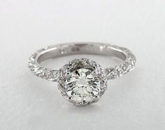 1ct Round Halo Engagement Ring in White Gold - See it in 360 HD SuperZoom!