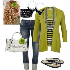 Navy blue with green - Polyvore