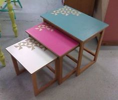 Retro-Vintage-Upcycled-Nest-of-Tables-with-Formica-Geometric-cut-out-pattern-top
