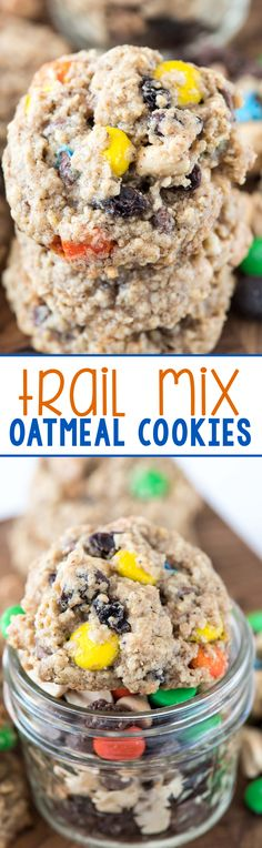 Trail Mix Oatmeal Cookies - this easy cookie recipe starts with a Krusteaz cookie mix. You'll be amazed at how they taste!
