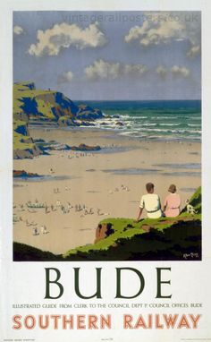 Bude in Cornwall. Artwork by Herbert Alker Tripp who had a long and successful career with New Scotland Yard, painting in his spare time and after his retirement. He designed posters for SR and Great Western Railway (GWR) and was knighted in Posters Uk, Train Posters, Railway Posters, Retro Posters, British Travel, British Seaside, Tourism Poster, Southern Railways, Vintage Travel Posters