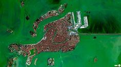 Ein Satellit fotografierte Venedig, Italien