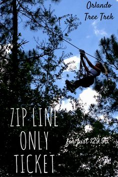 "Want to zip line only? Get in on the action and fly down on one of our giant 425' zip lines. Our dual zip lines line up so you can race each other or zip down next to family and friends. Our special zip line ticket is good for 4 rides per person on the same day. Participants must be at least 9 years old and be able to reach the tips of their fingers to a height of 5'9"" while keeping their feet flat on the ground. Please make reservations by phone at 407-390-9999.  #zipline #Kissimmee…"