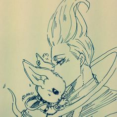 Whis or Wiss from DragonBall Super. Dragon Ball Z and baby Lord Lord Beerus