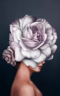 Beautiful woman painting with flower head? Beautiful woman painting with flower head? Art Floral, Art Visage, Oil Painting Flowers, Drawing Flowers, Painted Ladies, Woman Painting, Portrait Art, Flower Art, Flower Canvas