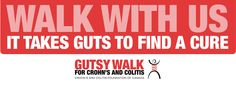 Gutsy Walk Logo: Walk with Us - It Takes Guts to Find a Cure (English & FB Friendly)