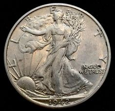 1942 Denver Walking Liberty Silver Half Dollar. Low Mintage.