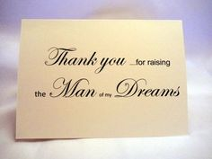 Thank You For Raising The Man Of My Dreams Wedding Card Mother Groom In Law Cards