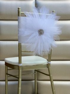 Freya Rosa Large Tulle and Taffeta Flower Chair Back Cover with Brooch Center