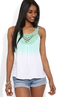 Deb Shops #Ombre Tank Top with Crochet Neck Trim $15.75